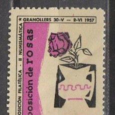 Sellos: 1957, VIÑETA DE GRANOLLERS, EXPOSICION DE ROSAS, NUEVA ***. Lote 57305085