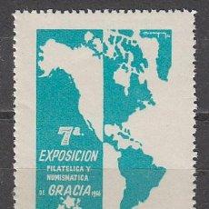 Sellos: VIÑETA 1956, MAPA DE AMERICA, EXPOSICION DE GRACIA, NUEVA ***. Lote 57365543
