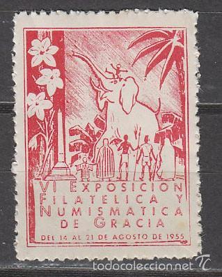 VIÑETA, 1955, ELEFANTE, EXPOSICION DE GRACIA, NUEVA *** (Sellos - Extranjero - Viñetas)