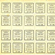 Sellos: HOJA COMPLETA DE 20 CUPONES AYUNTAMIENTO DE REUS- MERCADO - 25 CTS.. Lote 57874074
