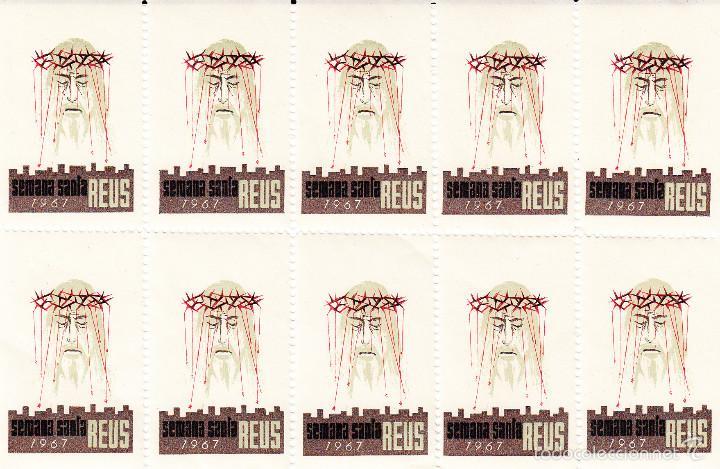 VIÑETAS SEMANA SANTA DE REUS 1967 -----HOJA ENTERA------- (Sellos - Extranjero - Viñetas)