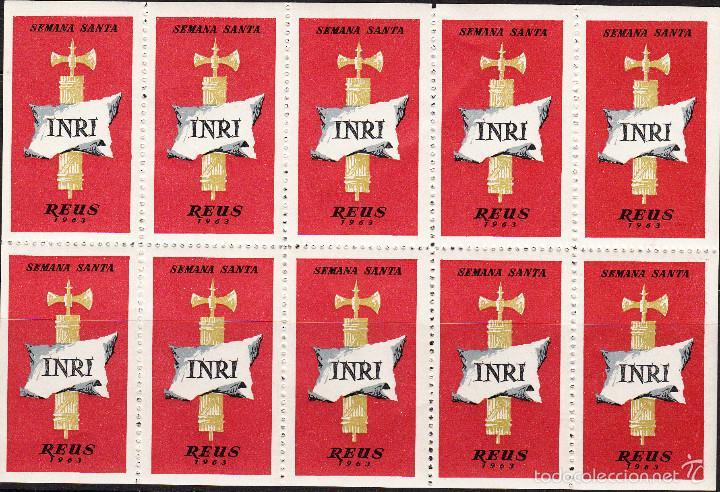 VIÑETAS SEMANA SANTA DE REUS 1963 -----HOJA ENTERA------- (Sellos - Extranjero - Viñetas)