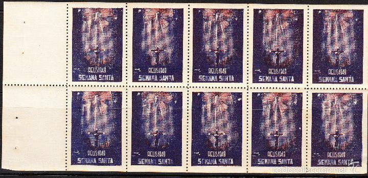 VIÑETAS SEMANA SANTA DE REUS 1949 -----HOJA ENTERA------- (Sellos - Extranjero - Viñetas)