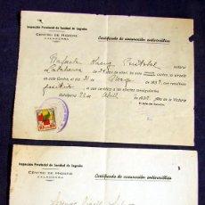 Sellos: LOTE DE 2 - CERTIFICADO VACUNACION CONTRA LA VIRUELA - CALAHORRA - CON VIÑETA DE AUXILIO SOCIAL. Lote 59179635