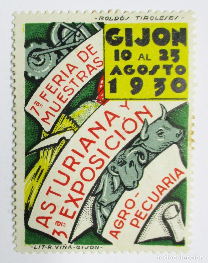 GIJON (TASTURIAS), 1930. VIÑETA DE LA FERIA DE MUESTRAS Y EXPOSICION AGROPECUARIA. LOTE 0009 (Sellos - Extranjero - Viñetas)