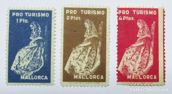 MALLORCA. TRES VIÑETA S TURISTICAS ANTIGUAS. LOTE 0011 (Sellos - Extranjero - Viñetas)