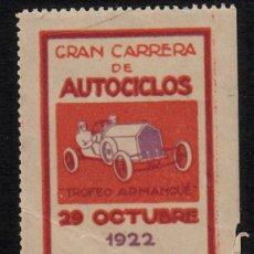 Sellos: VIÑETA TARRAGONA.- GRAN CARRERA AUTOCICLOS AÑO 1922 --AUTOMOVILISMO--. Lote 93298470