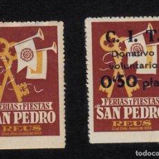 Sellos: VIÑETA REUS- LOTE DE DOS VIÑETAS FIESTAS DE SAN PEDRO 1950 , UNA CON RECARGO DE 0,50CMS. Lote 93298760