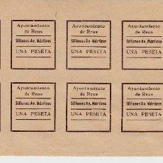 Sellos: VIÑETAS -FISCALES - AYUNTAMIENTO DE REUS - SILLONES AV. MÁRTIRES - HOJA ENTERA DE 1 PTA. Lote 97986651