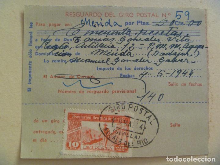 VIÑETA DE LA ASOCIACION BENEFICA DE CORREOS EN UN RECIBO DE GIRO. ALCALA DEL RIO, SEVILLA, 1944 (Sellos - Extranjero - Viñetas)