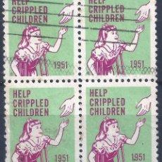 Sellos: VIÑETAS HELP CRIPPLED CHILDREN 1951. BLOQUE DE 4.. Lote 117501067