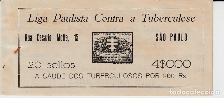 CARNET VIÑETAS ANTITUBERCULOSOS DE BRASIL - AÑO 1935-1936 - LIGA PAULISTA (Sellos - Extranjero - Viñetas)