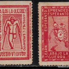 Sellos: 2 VIÑETAS ESPERANTO ABAJO LA GUERRA . Lote 121057911