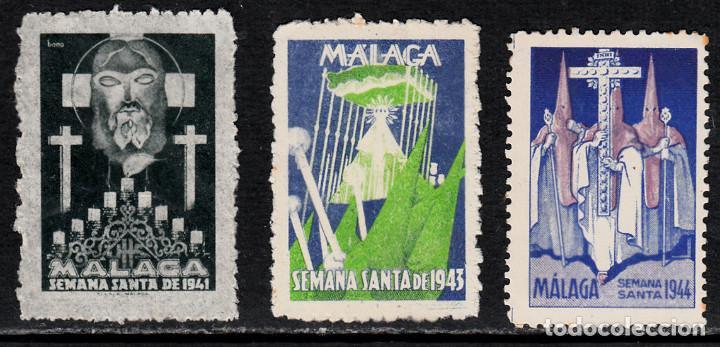 3 VIÑETAS SEMANA SANTA MÁLAGA 1941-1943-1944 (Sellos - Extranjero - Viñetas)