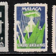 Timbres: 3 VIÑETAS SEMANA SANTA MÁLAGA 1941-1943-1944. Lote 121058687