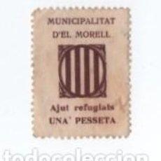 Sellos: (ALB-TC-28) VIÑETA MUNICIPALITAT D'EL MORELL AJUT REFUGIATS UNA PESSETA. Lote 121566263