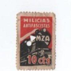Timbres: VIÑETA MILICIAS ANTIFASCISTAS MZA 10 CTS CON TALADRO. Lote 121575979