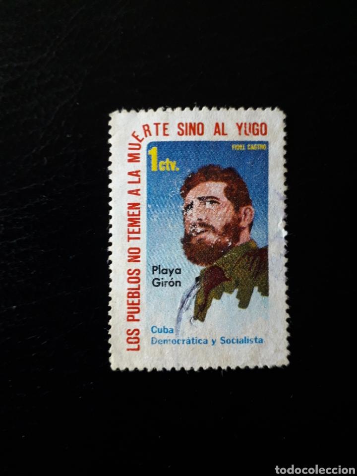 CUBA. VIÑETA FIDEL CASTRO Y PLAYA GIRÓN. (Sellos - Extranjero - Viñetas)