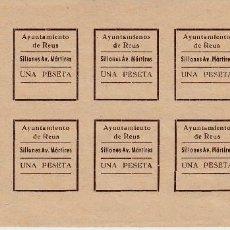 Sellos: VIÑETAS - HOJA DE 10 SELLOS DE 1 PTA SILLONES AV. MÁRTIRES EN REUS - AYUNTAMIENTO DE REUS. Lote 135924582