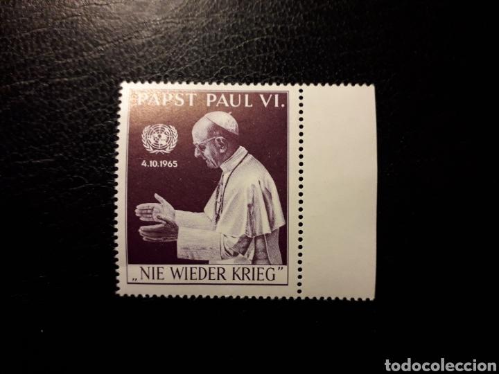 AUSTRIA. VIÑETA NUEVA SIN CHARNELA. 1965. PAPA PABLO VI EN LA ONU. 'NUNCA MÁS GUERRAS'. (Sellos - Extranjero - Viñetas)