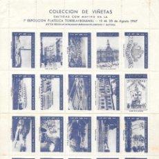 Sellos: TORRELAVEGA VIÑETAS CONMEMORATIVAS 1ª EXPOSICION AGOSTO 1937 COLOR AZUL. Lote 145502750