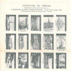 Sellos: TORRELAVEGA VIÑETAS CONMEMORATIVAS DE 1ª EXPOSICION AGOSTO 1947 COLOR VERDE. Lote 145502926