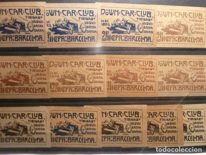 13 VIÑETAS DOWN CAR CLUB 1911 COPA BARCELONA (Sellos - Extranjero - Viñetas)