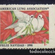 Sellos: S-2389- USA. VIÑETA. AMERICAN LUNG ASSOCIATION. FELIZ NAVIDAD 1990. PRO TUBERCULOSOS. CRUZ LORENA.. Lote 147566746