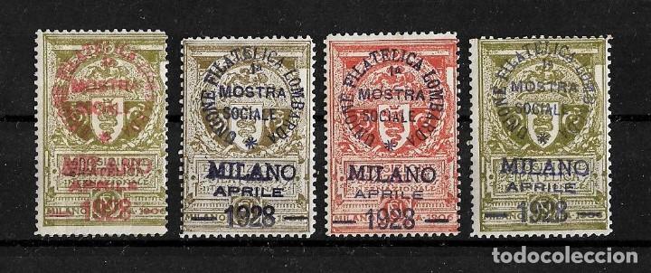 ITALIA LOTE DE 4 VIÑETAS SOBRECARGADAS DE LA UNION FILATELICA LOMBARDA MILAN 1928 (Sellos - Extranjero - Viñetas)