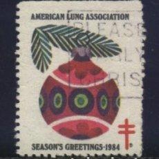 Sellos: S-2666- USA. VIÑETA. AMERICAN LUNG ASSOCIATION. SEASON´S GREETINGS. PRO TUBERCULOSOS. CRUZ LORENA.. Lote 151620370