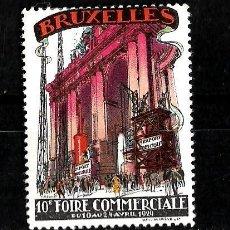 Sellos: BELGICA 1929 VIÑETA DE LA DECIMA FERIA COMERCIAL DE BRUSELAS NUEVA CON CHARNELA . Lote 151871382