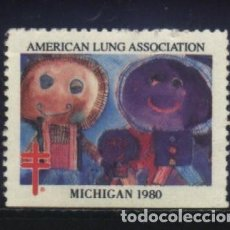 Sellos: S-2849- USA. VIÑETA. AMERICAN LUNG ASSOCIATION. MICHIGAN 1980. PRO TUBERCULOSOS. CRUZ LORENA. . Lote 153454042
