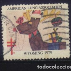 Sellos: S-2851- USA. VIÑETA. AMERICAN LUNG ASSOCIATION. WYOMING 1979. PRO TUBERCULOSOS. CRUZ LORENA. . Lote 153454222