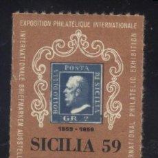 Sellos: S-3097- VIÑETA. ITALIA. SICILIA. PALERMO. EXPOSIZINE FILATELICA 1959. Lote 156543194