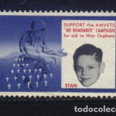 Sellos: S-3109- SUPPORT THE AMVETS (WE REMENBERG) CAMPAING FOR AID TO WAR ORPHANS. Lote 156615206