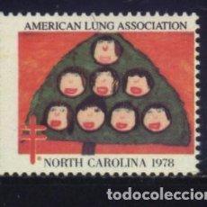 Sellos: S-3129- USA. VIÑETA. AMERICAN LUNG ASSOCIATION. NORTH CARLINA 1978. PRO TUBERCULOSOS. CRUZ LORENA. . Lote 156736898