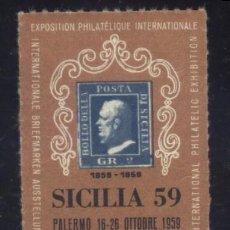 Timbres: S-3385- VIÑETA. ITALIA. SICILIA. PALERMO. EXPOSIZINE FILATELICA 1959. Lote 160274550