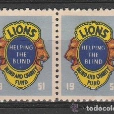 Sellos: 1961. CHICAGO. VIÑETAS CLUB LIONS.. PAREJA .BLIND AND CHARITY FUND. **,MNH. Lote 161426306