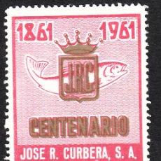 Sellos: VIÑETA CENTENARIO JOSÉ R. CURBERA - VIGO 1961. Lote 161575766