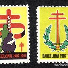 Sellos: 2 VIÑETAS ANTITUBERCULOSOS BARCELONA 1957. Lote 161922706