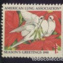 Sellos: S-3642- USA. AMERICAN LUNG ASSOCIATION. SEASON´S GREETING 1990. PRO TUBERCULOSOS. CRUZ LORENA. . Lote 162399446