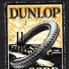 Selos: VIÑETA AUTOMOVILISMO - NEUMATICOS DUNLOP - CORD MADE IN ENGLAND. Lote 163480234