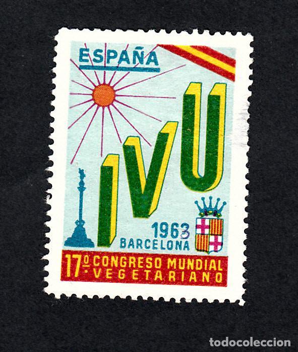 VIÑETA CONGRESO MUNDIA.L VEGETARIANO - BARCELONA - 1963 ---RARA---- (Sellos - Extranjero - Viñetas)