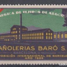Sellos: VIÑETA PUBLICITARIA PAÑOLERIAS BARÓ BARCELONA - EXPOSICION INT. DE BARCELONA 1929. Lote 178284023