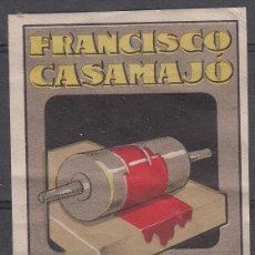Sellos: VIÑETA BARCELONA - FRANCISCO CASAMAJO - IMPRENTA LITOGRAFIA OSSFET TAMAÑO 4,3X6,3. Lote 186061922