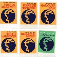 Sellos: S14 LOTE 6 VIÑETAS ALEMANIA: FERIA HANNOVER 1972 (IDIOMAS DISTINTOS). Lote 183813478