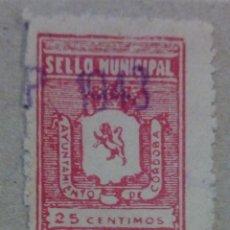 Selos: ESPAÑA SELLO MUNICIPAL CORDOBA ANDALUCIA 25 CTS. Lote 197224436