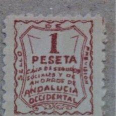 Sellos: FISCAL ESPAÑA SELLO PREVISIÓN ANDALUCÍA OCCIDENTAL CAJA SEGUROS SOCIALES Y AHORROS 1 PTAS RARO. Lote 197260838