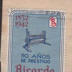Sellos: VIÑETA - RICARDO BACIANA - SABADELL 110 AÑOS DE PRESTIGIO - 1942. Lote 198923673