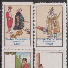 Francobolli: 4 VIÑETAS TINTES FARRAPEIRA -C. CERVANTES, 10 LEÓN . Lote 198981372